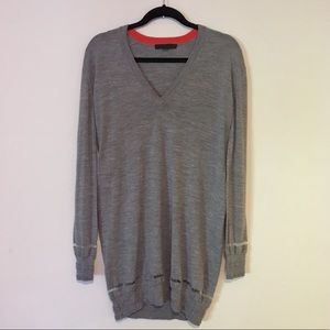 Alexander Wang Gray Wool V neck Tunic Sweater Top